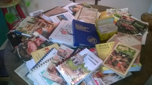 Table full of cookbooks