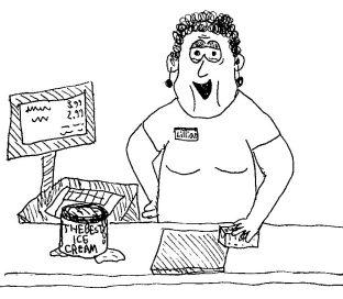 cashier talking