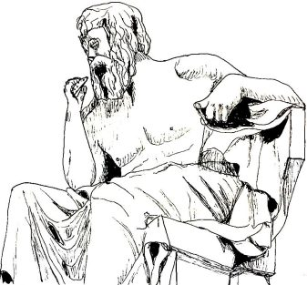 statue of philosopher eating a cookie