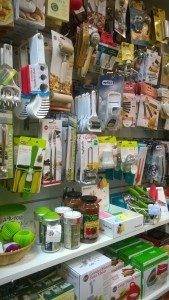 display of kitchen gadgets