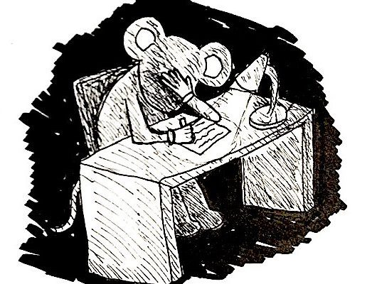 Alfred P. Mouse writes a note