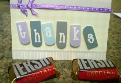 Thank you card and chocolate