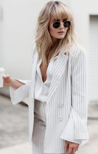 striped suit low cut