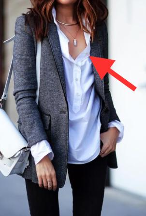 white shirt grey blazer