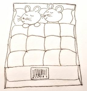 drawing of mice in a bed