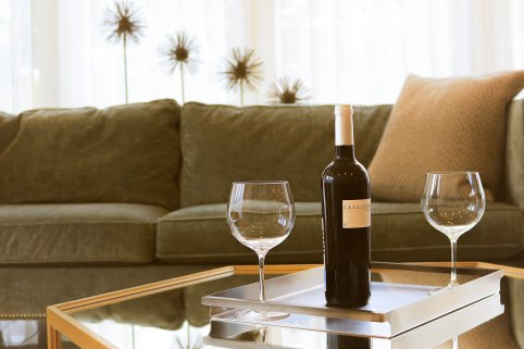relaxed scene of sofa and two glasses of wine