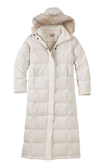 quilted down coat with fur-lined hood
