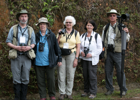 five birders with equipment