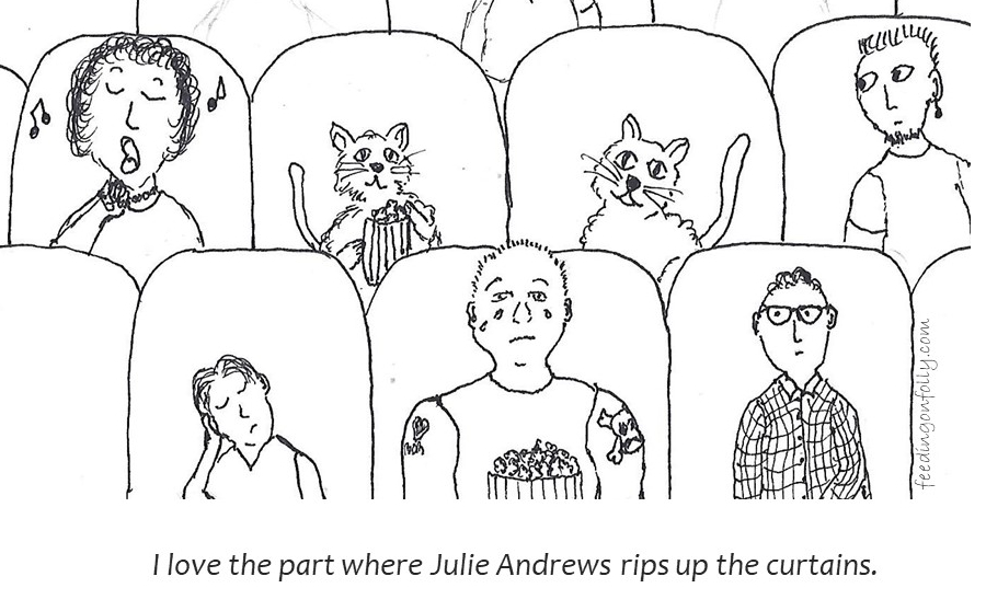 drawing of cats in movie theater