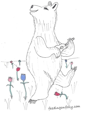 comic drawing of a dancing bear