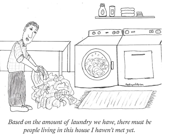 comic of man doing laundry