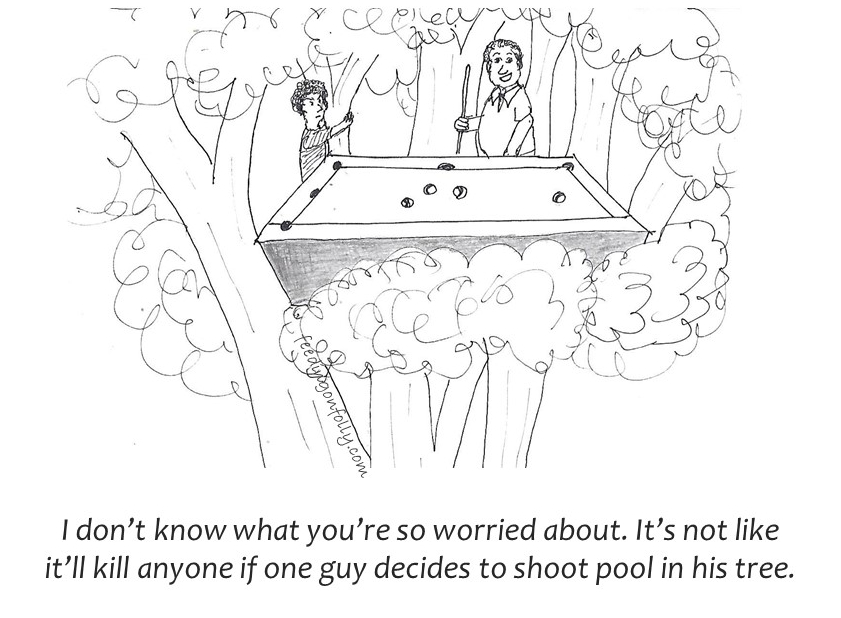 Shooting pool in a tree