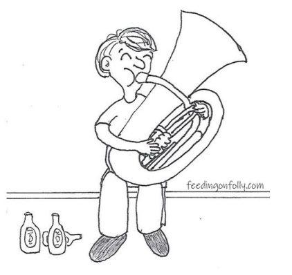 drawing of tuba player