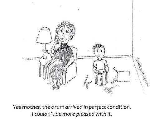 comic boy with broken drum