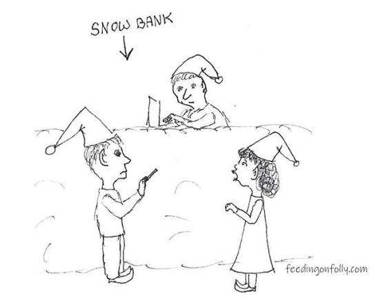 comic elves snow bank